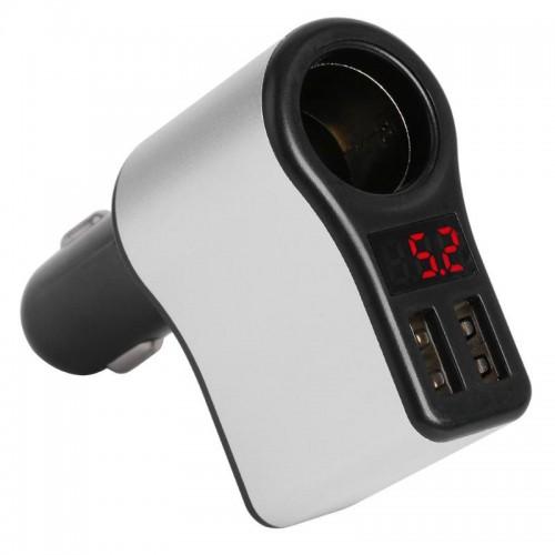 SVM-003 Saver Mobil / Charger Mobil Dual 2 Port USB Car Charger LED Digital Display