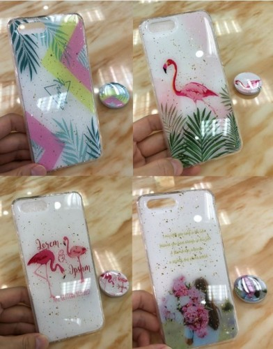 Xiaomi Note 8 Pro-  Motif Ver.24 Case Motif Abstrak, Flamingo,Flower Free Pop Socket Back Case Cover