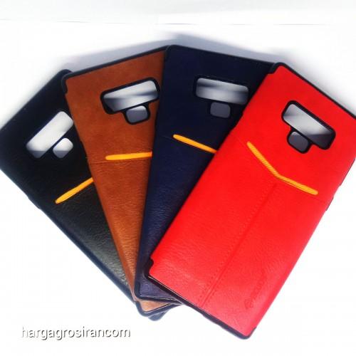 Samsung Note 9 - Elegan Leather Back Case - Silikon Kulit Design Simple dan Stylish Cover Ver.5
