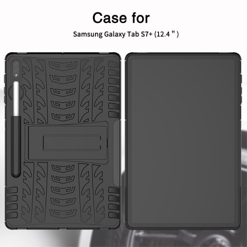 Samsung Tab S7 Plus / S7+ / S7 FE 2021 2020 12.4 Inch T976 Rugged Armor Stand / Hybrid / Dazzle Cover / Anti Shockproof / Tahan Banting Buat Lapangan