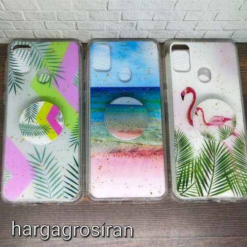 Samsung M30S - Motif Ver.24 Case Motif Abstrak, Flamingo,Flower Free Pop Socket Back Case Cover