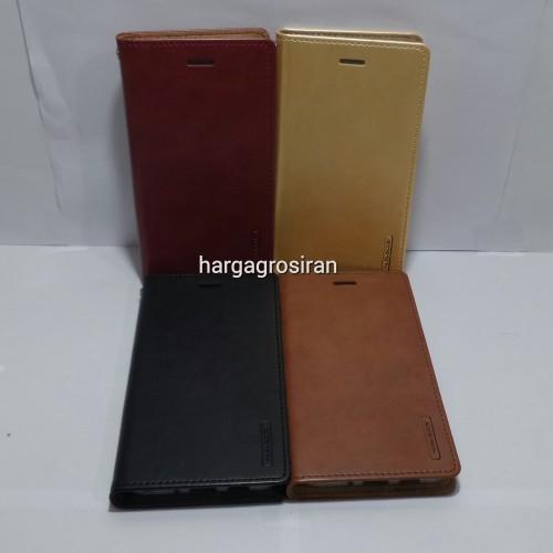 Sarung Mercury Kulit Asus Zenfone 3 5.5 Inch ZE552KL Blue Moon Flip / Leather Case / Dompet - STRPT