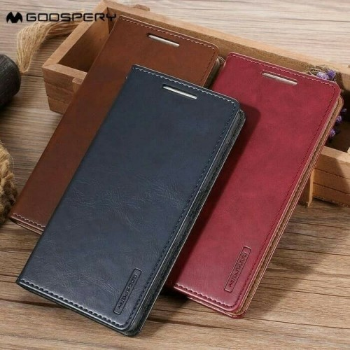 Sarung Mercury Kulit Xiaomi PocoPhone F1 - Blue Moon Flip / Leather Case / Dompet - STRPT