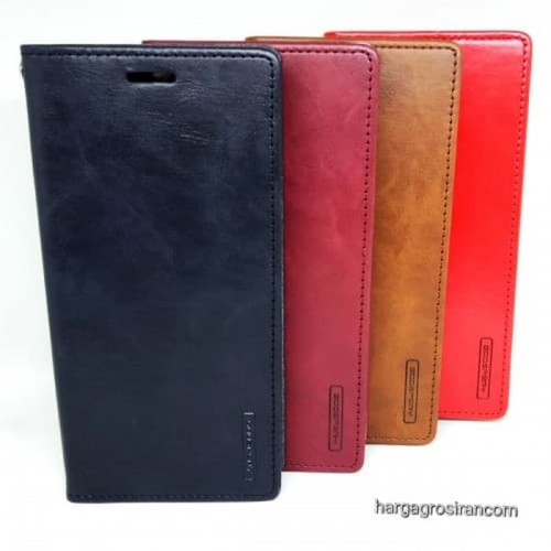 Sarung Mercury Kulit Xiaomi Redmi Note 7 - Blue Moon Flip / Leather Case / Dompet - STRPT