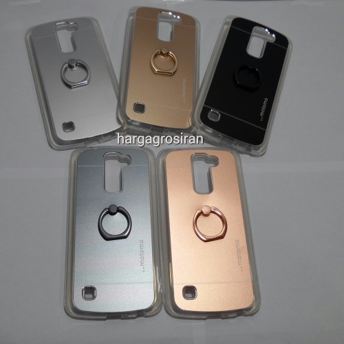 Softcase Motomo Ring LG K10 / Motomo Alluminium + Ring Holder Dibelakang