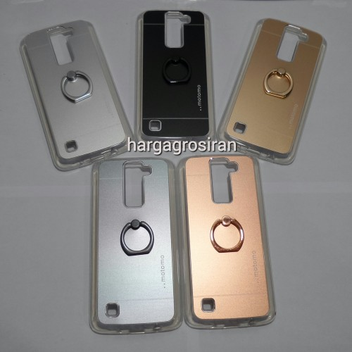 Softcase Motomo Ring LG K8 / Motomo Alluminium + Ring Holder Dibelakang
