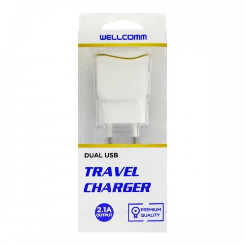 TC Charger 2.1A Output / DUAL USB + Kabel Flat Micro 1M  - Wellcomm