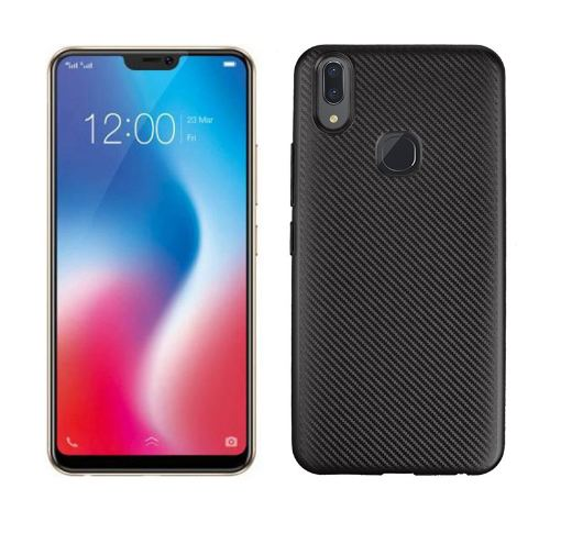 TPU Carbon Vivo V9 / Softshell / Cover / Sillicone Casing Black Ver.3