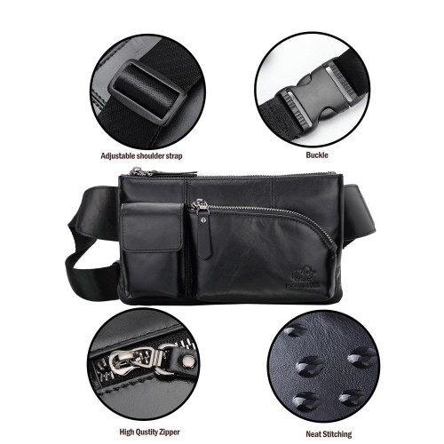Tas Pinggang Kulit Asli BISON DENIM Men Leather Bags Waist Pack Cowskin Male Chest Belt Bag Phone