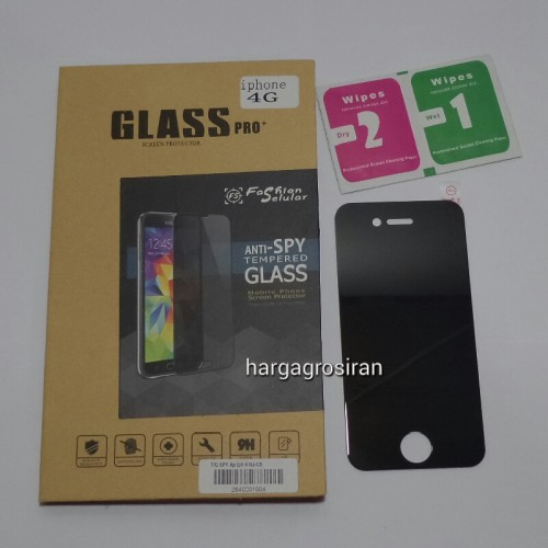 Tempered Glass FS SPY Iphone 4 / 4S / Anti Gores Kaca Private TIDAK ADA GARANSI PECAH
