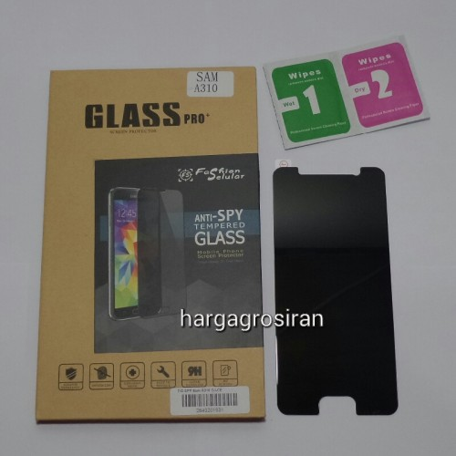 Tempered Glass FS SPY Samsung A310 / A3 2016 / Anti Gores Kaca Private TIDAK ADA GARANSI PECAH