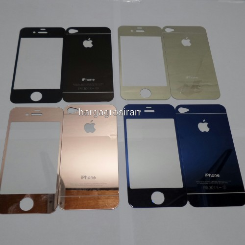 Tempered Glass Mirror Iphone 4 / 4s / Anti Gores Kaca Warna Warni Gold Full Set - STDIS