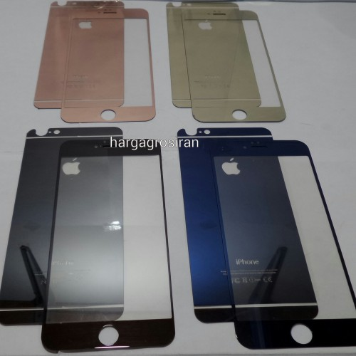 Tempered Glass Mirror Iphone 6 Plus / 6s Plus / Anti Gores Kaca Warna Warni Gold Full Set - STDIS