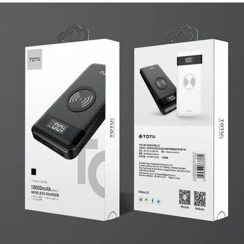 Totu Design 10000mAH Wireless Power Bank 2 USB Ports Dan 3-in-1 Mirco Type-C Iphone Cable CPBW-06
