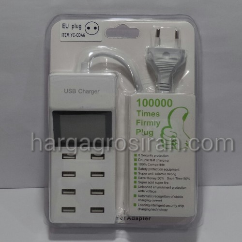 Travel Charger LED 8 USB Port / Max 9.2 Ampere / Batok Charger Multi Port - YC-CDA6