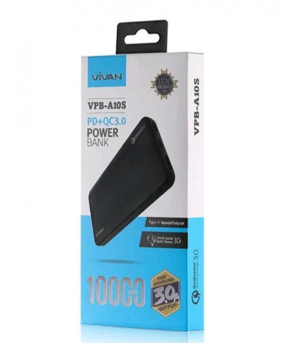 Vivan VPB-A10S 10.000 mah Fast Charging Power Bank Black