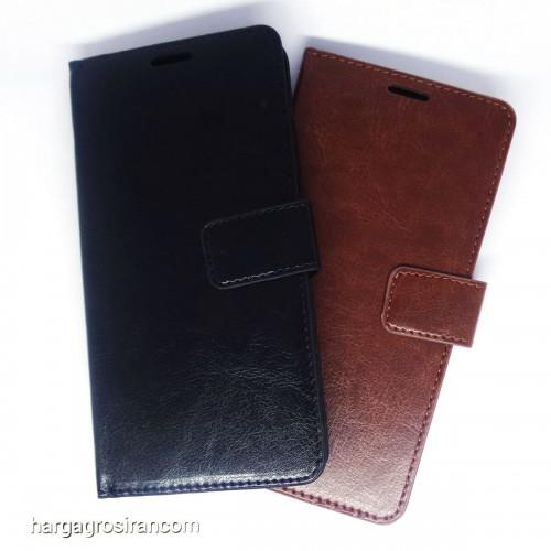 Vivo Y81 - Sarung Kulit FS Leather Case Blue Moon Ada Kancing dan Pinggiran Jahitan Cover