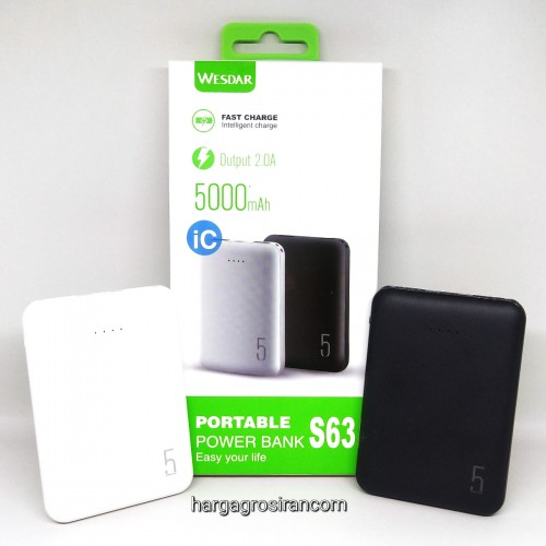 Wesdar S63 5000mAh Mini PowerBank (Digital Display 2A Fast Charge)