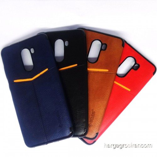 Xiaomi Pocophone F1 - Elegan Leather Back Case - Silikon Kulit Design Simple dan Stylish Cover Ver.5