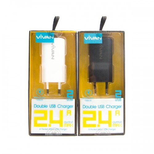 TC Charger / Batok Adaptor Double USB 2 Output - 2.4 Ampere / DD01 Vivan + Kabel