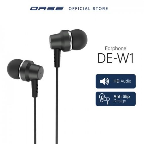 OASE Earphone DE-W1 [HD Audio, Anti Slip Design] Kualitas Bagus Packing Exclusive