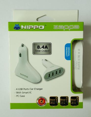 Saver Mobil hippo Zappa 4 USB Ports (8.4A) / Charger Mobil / Car Charger