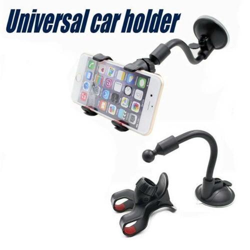 CHK-002 Car Mount Holder Mobil Smartphone S022 Holder Model Jepit Buat di Kaca - Black STRDY