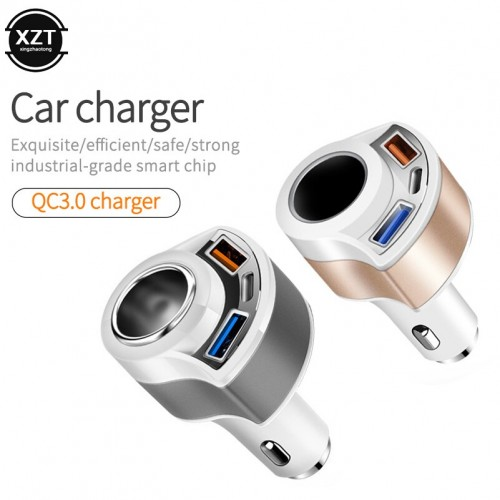 SVM-004 Pemantik Rokok W Dual USB TYPE C 4-In-1 Mobil Charger untuk Xiaomi Redmi Note pro Smart Ponsel Charger Mobil Aksesoris