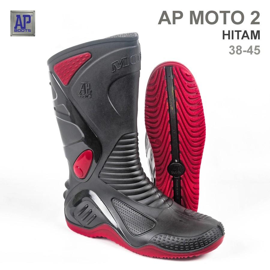 ApBoots Moto 2 Ukuran 40 Sepatu Safety Boot Karet Original Asli AP Boots Karet Motor Outdoor Proyek Kebun Perkebunan Anti Air Waterproof